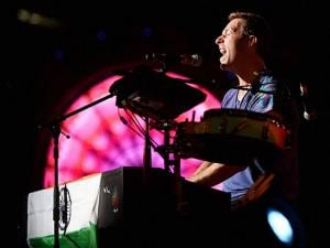 Chris Martin of British Band Coldplay performs during the Global Citizen concert
