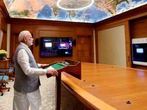 Prime Minister Narendra Modi addressing the  Global Citizens Festival in Mumbai, via video conferencing, in New Delhi