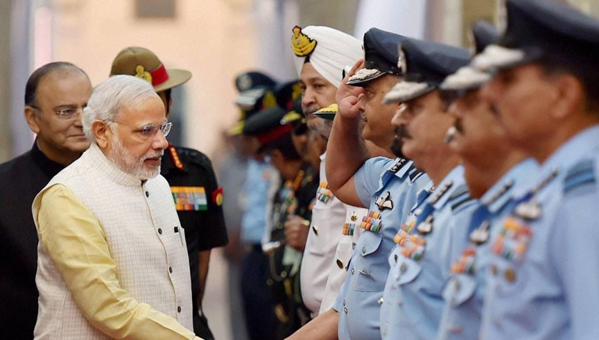 Prime Minister, Narendra Modi, shakes hand, commanders, Annual, Combined, Commanders', Conference, Armed Forces