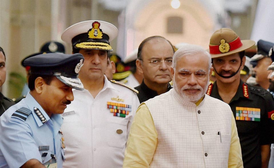 Prime Minister, Narendra Modi, poses, Defence Minister, Arun Jaitley, Air Chief Marshal, Arup Raha, Navy Chief Admiral, RK Dhowan, Army Chief General, Dalbir Singh Suhag, Combined, Commanders', Conference