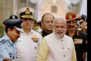 Prime Minister Narendra Modi with Defence Minister Arun Jaitley, Air Chief Marshal Arup Raha, Navy Chief Admiral RK Dhowan and Army Chief General Dalbir Singh Suhag