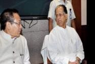 Assam Chief Minister Tarun Gogoi and Nagaland CM T  R Zeliang during a meeting on Assam-Nagaland Border conflict