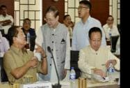 Manipur Chief Minister Okram Ibobi Singh and Mizoram Chief Minister Lal Thanhawla during the Conference
