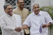 Karnataka Chief Minister Siddharamaiah and Kerala Chief Minister Oommen Chandy