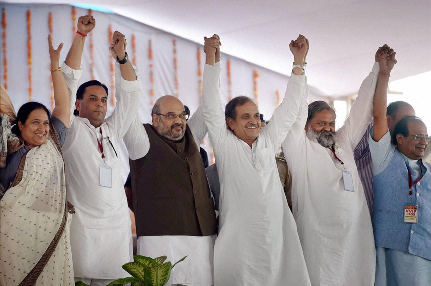 BJP, President, Amit Shah, rebel, Congress, leader, Chaudhary, Birendra Singh, joined, BJP