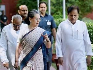 Congress President Sonia Gandh with senior leader Ahmed Patel