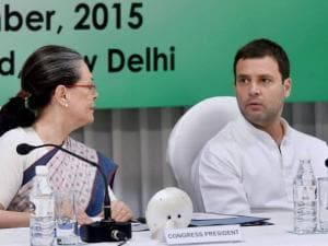 Congress President Sonia Gandhi with party Vice President Rahul Gandhi during the CWC meeting