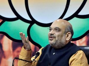 BJP President Amit Shah gestures as he addresses media at the party office in New Delhi