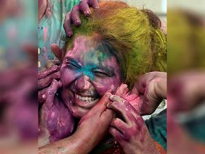 Students of Presidency University celebrate Holi at the University campus