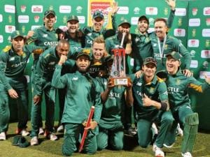 South Africa's cricket team celebrates with the trophy