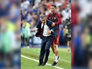 Cristiano Ronaldo and Portugal coach Fernando Santos during the Euro 2016 final