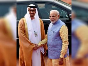 Prime Minister Narendra Modi shakes hands with Sheikh Mohammed bin Zayed Al Nahyan, Crown Prince of Abu Dhabi during the ceremonial reception at Rashtrapati Bhavan