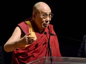 Tibetan Spiritual leader Dalai Lama addressing a Public Lecture on 'Ancient Indian Knowledge in Modern Times'