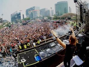 DJ David Guetta performs at a concert at BKC