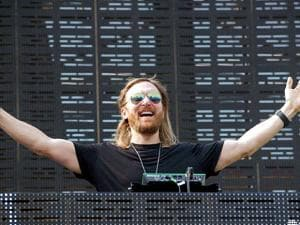 DJ David Guetta performs at a concert at BKC in Mumbai