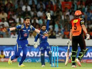 Mumbai Indians player Hardik Pandya appeals unsuccessfully  during Indian Premier League (IPL) 2016 T20 match against Sunrisers Hyderabad