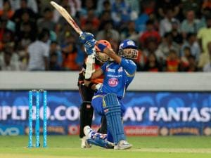 Mumbai Indians player Krunal Pandya plays a shot against Sunrisers Hyderabad during Indian Premier League (IPL) 2016 T20 match