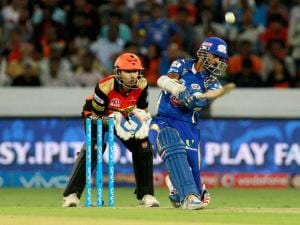 Mumbai Indians player Krunal Pandya plays a shot against Sunrisers Hyderabad during Indian Premier League (IPL) 2016 T20 match in Hyderabad