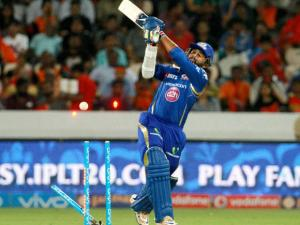 Mumbai Indians player Parthiv Patel gets clean bowled against Sunrisers Hyderabad during Indian Premier League (IPL) 2016 T20 match in Hyderabad