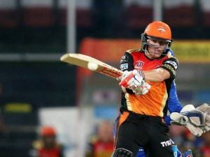 Sunrisers Hyderabad captain David Warner plays a shot against Mumbai Indians during Indian Premier League (IPL) 2016 T20 match