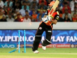 Sunrisers Hyderabad captain Shikhar Dhawan gets clean bowled by Mumbai Indians player Tim Southee during Indian Premier League (IPL) 2016 T20 match in Hyderabad