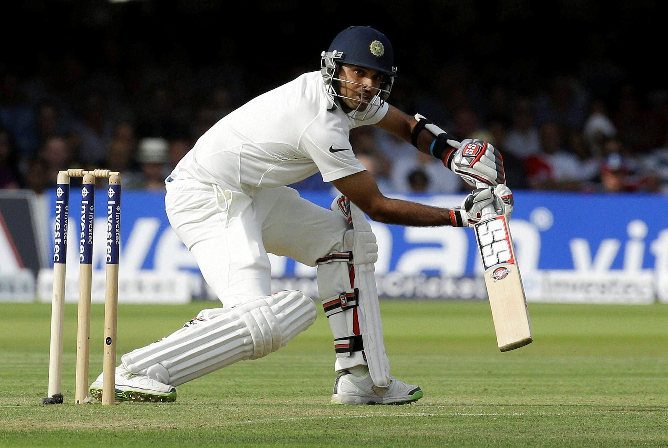 India's, Bhuvneshwar Kumar, plays, shot, bowling, England's, Ben Stokes, first day, second test match, England, India, Lord's, cricket, London