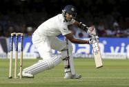 Bhuvneshwar Kumar plays a shot off the bowling of England's Ben Stokes