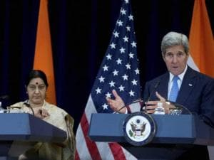 John Kerry, Indian Minister of State for Commerce and Industry Nirmala Sitharaman, Sushma Swaraj