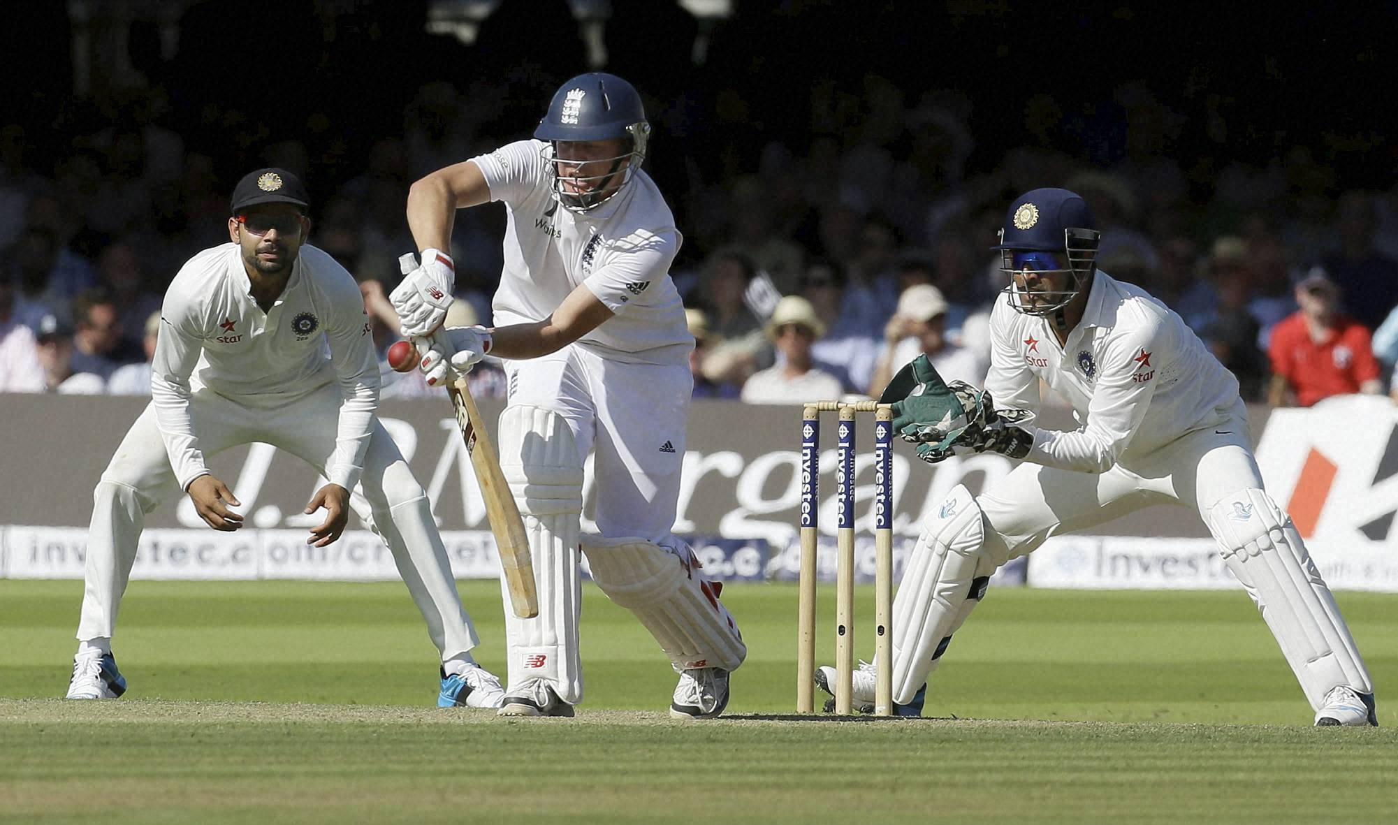 Gary Ballance, Moeen Ali, Joe Root, plays, shot off, Stuart Binny, Ishant Sharma, India's, Ravindra Jadeja, fails, stop ball,England's, Ian Bell, India's, Bhuvneshwar Kumar, second day, second test match, England, India, Lord's, cricket, London