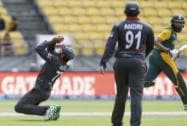 UAE  Muhammad bowler Amjad Ali takes a catch to dismiss South African batsman Hashim Amla