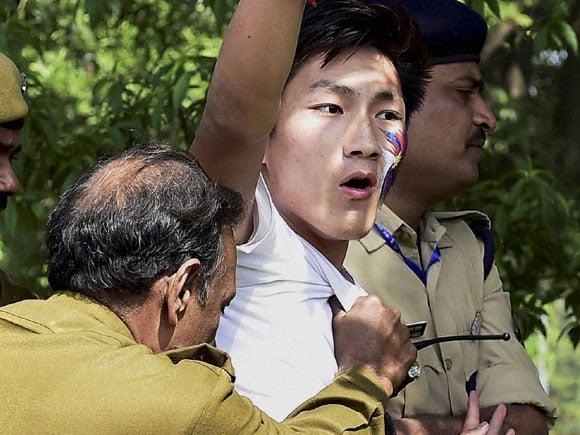 Delhi Police, Chinese embassy, China, Tibetan, Chinese rule, Tibetan Uprising Day, Anniversary, Shouting, New Delhi