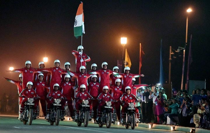 CRPF, women, bike rider, contingent, showing, skill, occasion, Desh Ke Rakshak,  Diamond, Jubilee, celebrations, Central Reserve Police Force, (CRPF), Rajpath, New Delhi