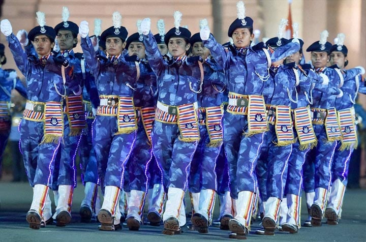 Women, members, RAF, contingent, CRPF, showing, parade, skill, occasion, Desh Ke Rakshak,  Diamond Jubilee, celebrations, Central Reserve Police Force, (CRPF), India Gate, New Delhi