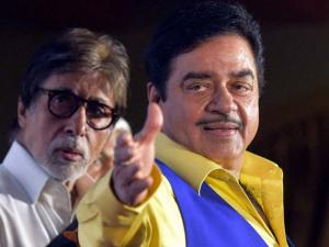 Shatrughan Sinha and Amitabh Bachhan during the book launch