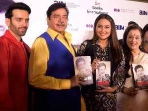 Shatrughan Sinha with his wife Poonam, sons Lav, Kush, daughter Sonakshi and daughter-in-law during the book launch