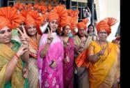 BJP MLAs at Vidhan Bhavan before the legislature party meeting