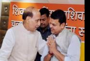 Union Home Minister Rajnath Singh with Maharashtra BJP President Devendra Phadanvis at party office