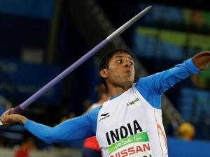 Devendra Jhajharia competes in the men's javelin throw F46 final