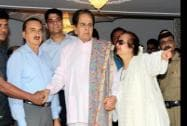 Bollywood Actor Dilip Kumar with his wife Saira Banu after getting discharged from Lilavati Hospital
