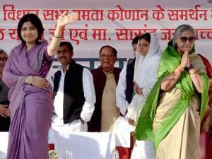 SP MPs Dimple Yadav and Jaya Bachchan at a campaign rally in support of Congress-SP candidates
