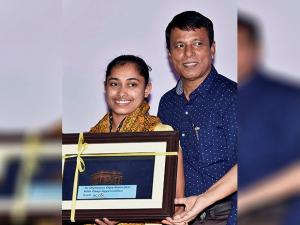 Dipa Karmakar with coach Bisweswar Nand