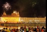 Illuminated and  firework at Golden Temple on the occasion of Diwali festival