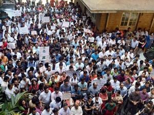 doctors along with senior doctors take out a protest rally at the KEM hospital