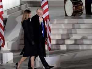 President-elect Donald Trump and his wife Melania Trump walk at a pre-Inaugural Make America Great Again! Welcome Celebration at the Lincoln Memorial in Washington