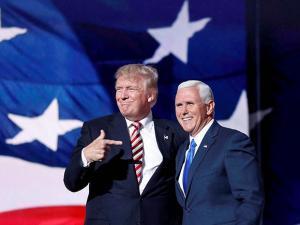 Donald Trump points toward Republican Vice presidential candidate Gov. Mike Pence of Indiana