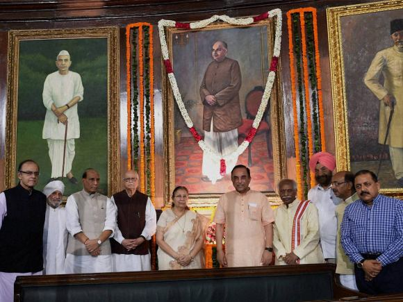 Mookerjee, Syama Prasad Mookerjee, Rajnath Singh, Arun Jaitley, Sumitra Mahajan, L K Advani, Subramanian Swamy, Birth Anniversary, MoS, PMO, Jitendra Singh, Central Hall, Parliament, New Delhi