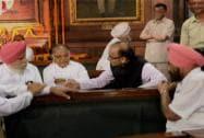 Arun Jaitley with Rajya Sabha Deputy Chairman PJ Kurien