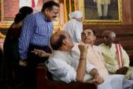 Rajnath Singh with Subramanian Swamy and MoS, PMO, Jitendra Singh