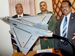 DRDO Chairman S Christopher at a press conference on LCA- TEJAS and TAPAS (RUSTOM-II) in Bengaluru