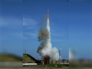 Long Range Surface to Air missile ( LRSAN) lifts off after it was test fired